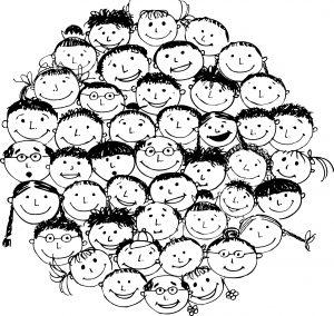 Tæt tegnet glade ansigter af børn, voksne, ældre. Fællesskab.